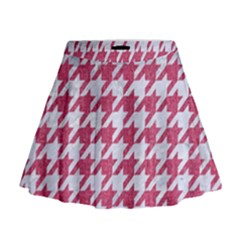 Houndstooth1 White Marble & Pink Denim Mini Flare Skirt by trendistuff