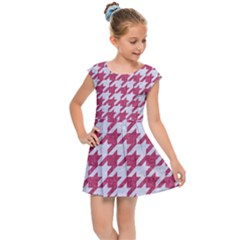 Houndstooth1 White Marble & Pink Denim Kids Cap Sleeve Dress