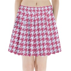 Houndstooth1 White Marble & Pink Denim Pleated Mini Skirt by trendistuff