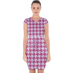 Houndstooth1 White Marble & Pink Denim Capsleeve Drawstring Dress