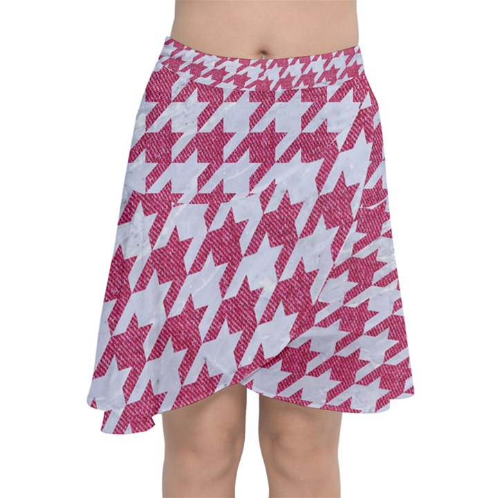 HOUNDSTOOTH1 WHITE MARBLE & PINK DENIM Chiffon Wrap