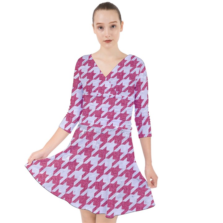 HOUNDSTOOTH1 WHITE MARBLE & PINK DENIM Quarter Sleeve Front Wrap Dress