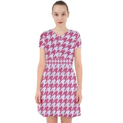 Houndstooth1 White Marble & Pink Denim Adorable In Chiffon Dress by trendistuff