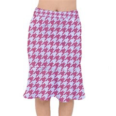 Houndstooth1 White Marble & Pink Denim Mermaid Skirt