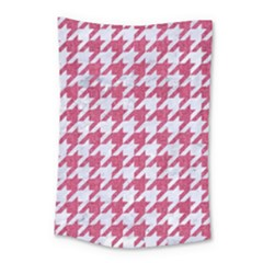 Houndstooth1 White Marble & Pink Denim Small Tapestry by trendistuff