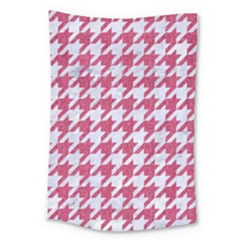 Houndstooth1 White Marble & Pink Denim Large Tapestry