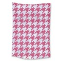 HOUNDSTOOTH1 WHITE MARBLE & PINK DENIM Large Tapestry View1