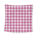 HOUNDSTOOTH1 WHITE MARBLE & PINK DENIM Square Tapestry (Small) View1