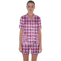 Houndstooth1 White Marble & Pink Denim Satin Short Sleeve Pyjamas Set