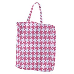 Houndstooth1 White Marble & Pink Denim Giant Grocery Zipper Tote by trendistuff