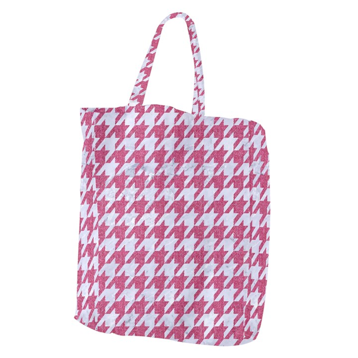HOUNDSTOOTH1 WHITE MARBLE & PINK DENIM Giant Grocery Zipper Tote