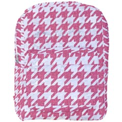 Houndstooth1 White Marble & Pink Denim Full Print Backpack