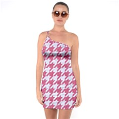 Houndstooth1 White Marble & Pink Denim One Soulder Bodycon Dress