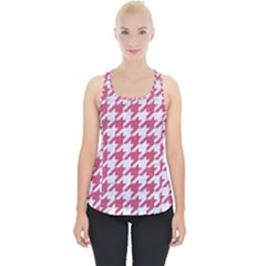 Houndstooth1 White Marble & Pink Denim Piece Up Tank Top