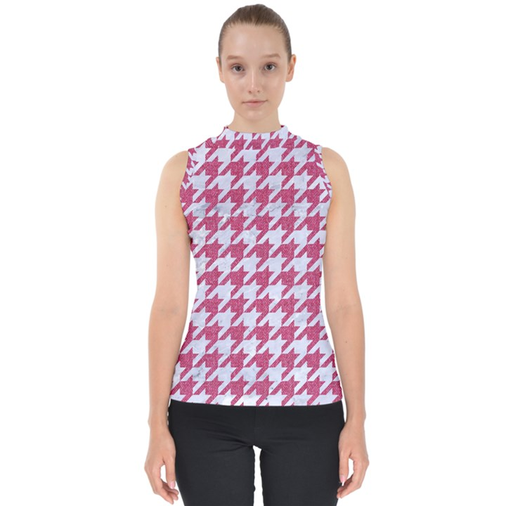 HOUNDSTOOTH1 WHITE MARBLE & PINK DENIM Shell Top