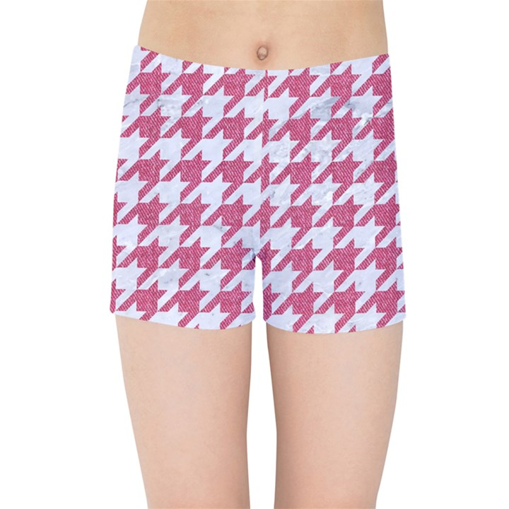 HOUNDSTOOTH1 WHITE MARBLE & PINK DENIM Kids Sports Shorts