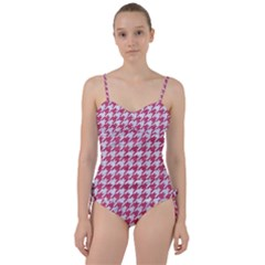 Houndstooth1 White Marble & Pink Denim Sweetheart Tankini Set by trendistuff