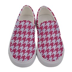 Houndstooth1 White Marble & Pink Denim Women s Canvas Slip Ons