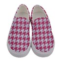 HOUNDSTOOTH1 WHITE MARBLE & PINK DENIM Women s Canvas Slip Ons View1