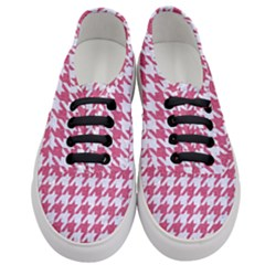 Houndstooth1 White Marble & Pink Denim Women s Classic Low Top Sneakers