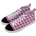 HOUNDSTOOTH1 WHITE MARBLE & PINK DENIM Men s Mid-Top Canvas Sneakers View2