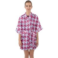 Houndstooth1 White Marble & Pink Denim Quarter Sleeve Kimono Robe