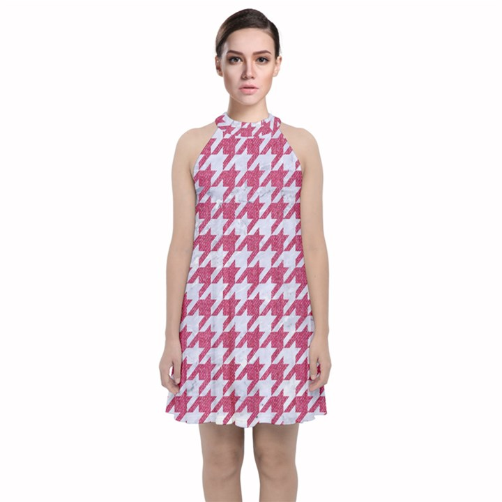 HOUNDSTOOTH1 WHITE MARBLE & PINK DENIM Velvet Halter Neckline Dress