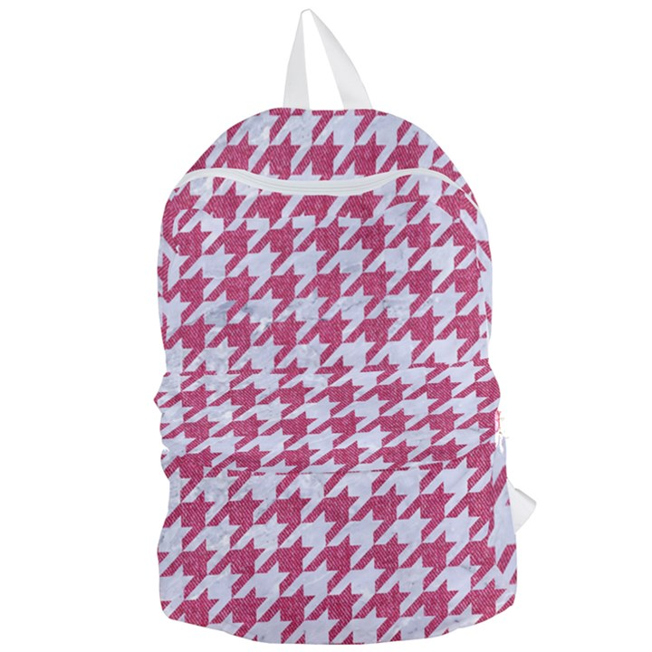 HOUNDSTOOTH1 WHITE MARBLE & PINK DENIM Foldable Lightweight Backpack