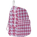 HOUNDSTOOTH1 WHITE MARBLE & PINK DENIM Foldable Lightweight Backpack View3