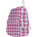 HOUNDSTOOTH1 WHITE MARBLE & PINK DENIM Foldable Lightweight Backpack View4