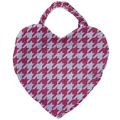 Houndstooth1 White Marble & Pink Denim Giant Heart Shaped Tote