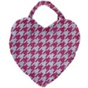HOUNDSTOOTH1 WHITE MARBLE & PINK DENIM Giant Heart Shaped Tote View1