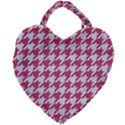 HOUNDSTOOTH1 WHITE MARBLE & PINK DENIM Giant Heart Shaped Tote View2