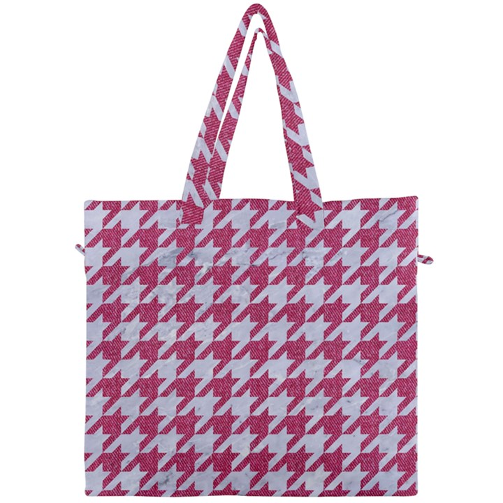 HOUNDSTOOTH1 WHITE MARBLE & PINK DENIM Canvas Travel Bag