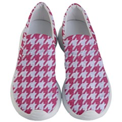 Houndstooth1 White Marble & Pink Denim Women s Lightweight Slip Ons