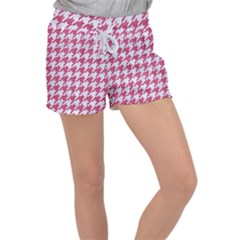 Houndstooth1 White Marble & Pink Denim Women s Velour Lounge Shorts by trendistuff