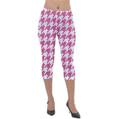 Houndstooth1 White Marble & Pink Denim Lightweight Velour Capri Leggings