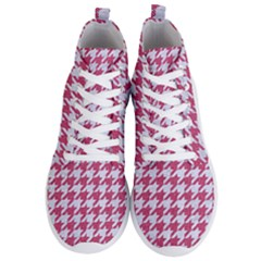 Houndstooth1 White Marble & Pink Denim Men s Lightweight High Top Sneakers