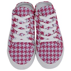 Houndstooth1 White Marble & Pink Denim Half Slippers