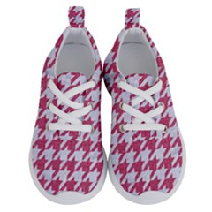Houndstooth1 White Marble & Pink Denim Running Shoes by trendistuff