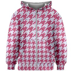 Houndstooth1 White Marble & Pink Denim Kids Zipper Hoodie Without Drawstring