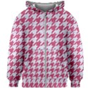 HOUNDSTOOTH1 WHITE MARBLE & PINK DENIM Kids Zipper Hoodie Without Drawstring View1