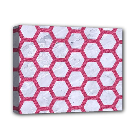 Hexagon2 White Marble & Pink Denim (r) Deluxe Canvas 14  X 11