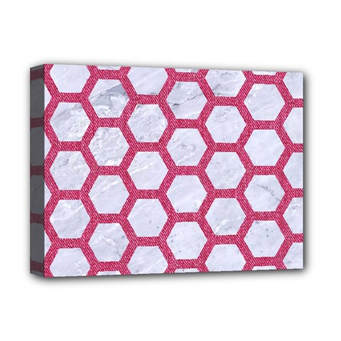 HEXAGON2 WHITE MARBLE & PINK DENIM (R) Deluxe Canvas 16  x 12