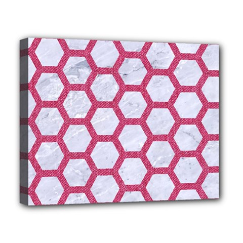HEXAGON2 WHITE MARBLE & PINK DENIM (R) Deluxe Canvas 20  x 16