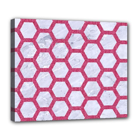 HEXAGON2 WHITE MARBLE & PINK DENIM (R) Deluxe Canvas 24  x 20