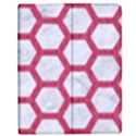 HEXAGON2 WHITE MARBLE & PINK DENIM (R) Apple iPad 2 Flip Case View1