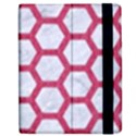 HEXAGON2 WHITE MARBLE & PINK DENIM (R) Apple iPad 2 Flip Case View2
