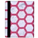 HEXAGON2 WHITE MARBLE & PINK DENIM (R) Apple iPad 2 Flip Case View3