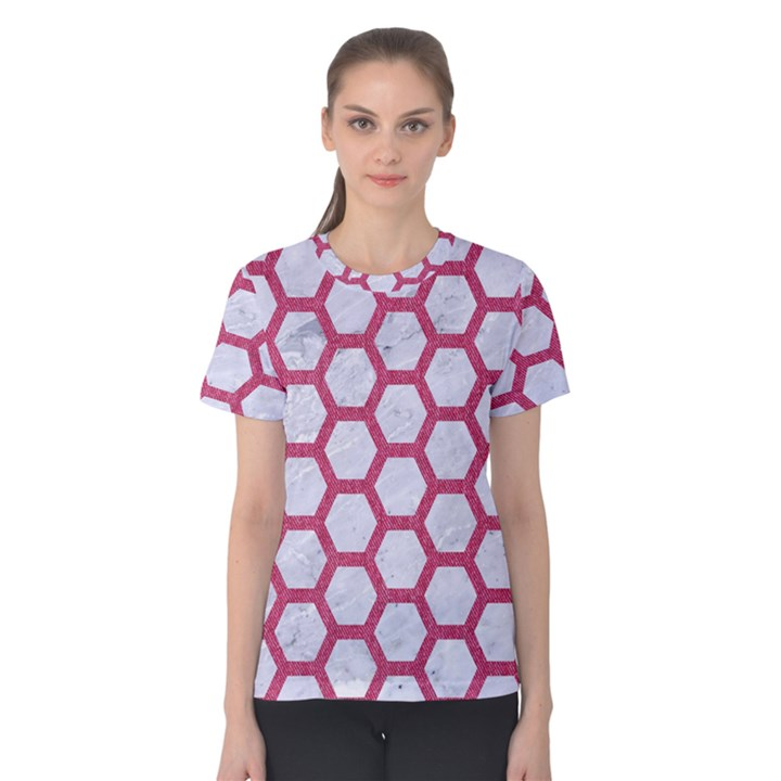 HEXAGON2 WHITE MARBLE & PINK DENIM (R) Women s Cotton Tee